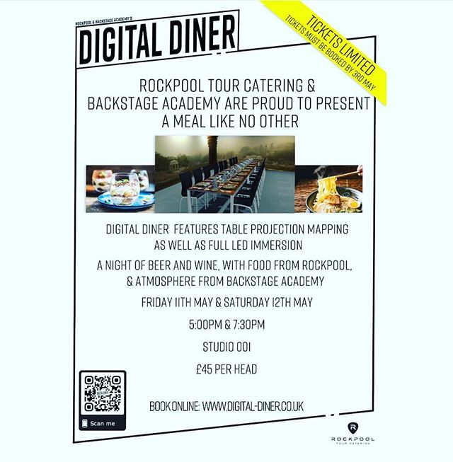 THIS is going to be amazing and delicious. We are very excited to be working alongside @backstageacad students AKA the future. 11th & 12th May 2 sittings per night. Tickets are limited and selling fast. It is taking place in @lsliveuk and will be a meal l