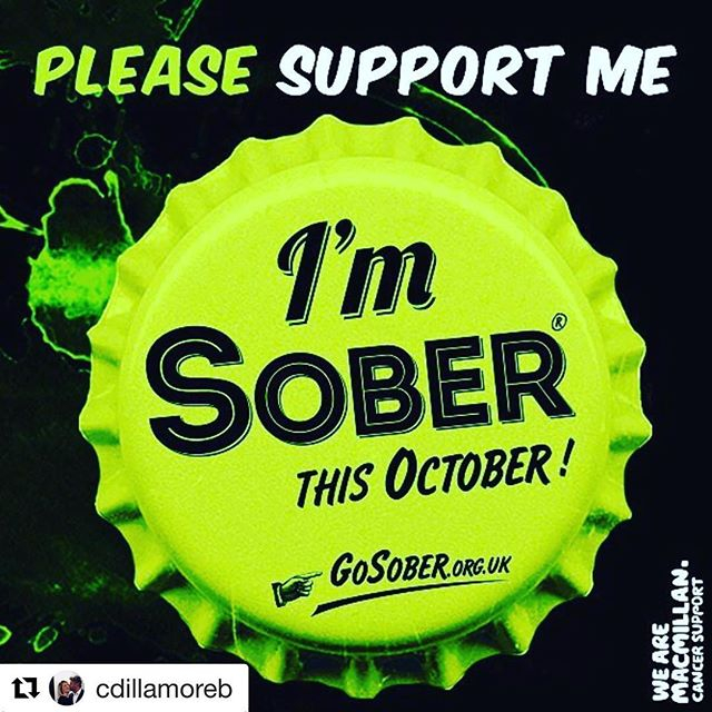 Please donate and support @cdillamoreb. Link in bio ・・・ Hello friends! You all know I love a glass of vino and I never thought I would do this but I have decided that I am not going to drink during October this year. The hope is to raise money for Macmill