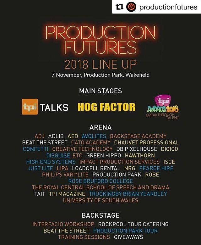 We are proud to be a part of this fantastic event! Don't miss out!  #productionfutures #events #eventprofs #eventprofsuk #catering #chefs #tourcatering  #Repost @productionfutures with @get_repost ・・・ ⚡ @productionfutures 2018 line-up ⚡  This is your next