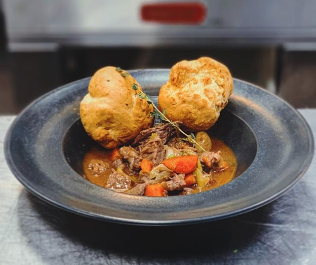 Today's Rockpool Cafe Special:  Homemade Beef & Ale Stew w/ Handmade Wholegrain Mustard Suet Dumplings + Greens  #cafe #catering #rehearsalcatering #eventcatering #chefs #personalchefs #privatechef #crewcatering #tourcatering #allthingsedible #instafood #