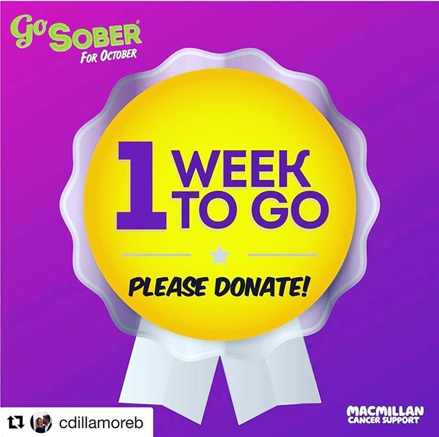 She loves a glass of vino and has not drunk for nearly an entire month. Please donate by clicking on the link in the bio to raise money for @macmillancancer  #Repost @cdillamoreb with @get_repost ・・・ Hi Friends,  I'm so so SO close to the finish line for